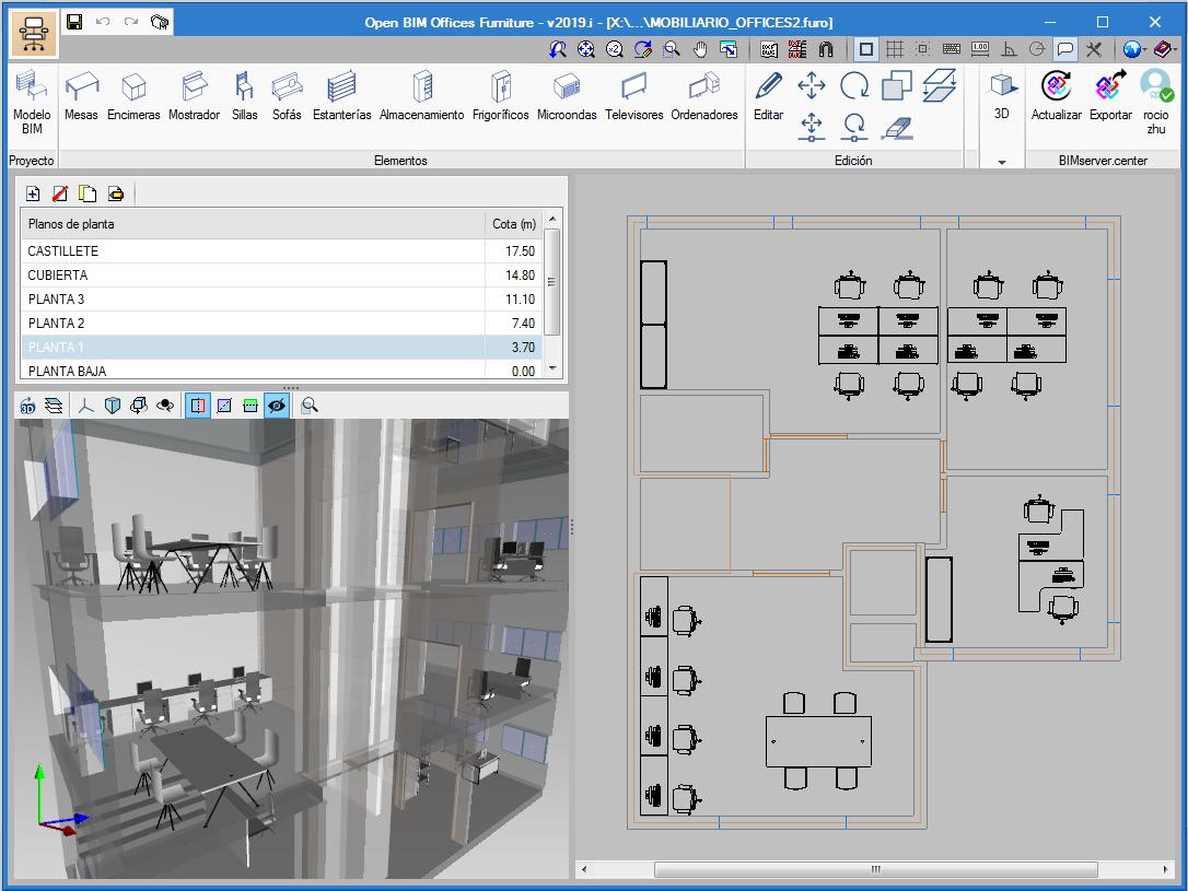 Open BIM Office Furniture. Application interface